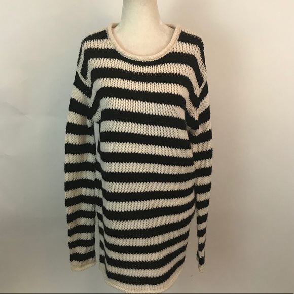 Zara Sweaters Womens Black And White Striped Sweater S Poshmark